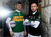26 November 2019; Clonmel Commercials footballer and Tipperary hurler Seamus Kennedy, left, is pictured with Nemo Rangers and Cork footballer Paul Kerrigan ahead of the AIB Munster Senior Football Club Championship Final where they face Nemo Rangers of Cork on Sunday December 1st at Fraher Field, Dungarvan. AIB is in its 29th year sponsoring the GAA Club Championship and is delighted to continue to support the Junior, Intermediate and Senior Championships across football, hurling and camogie. For exclusive content and behind the scenes action throughout the AIB GAA & Camogie Club Championships follow AIB GAA on Facebook, Twitter, Instagram and Snapchat. Photo by Sam Barnes/Sportsfile