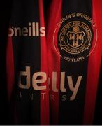 26 November 2019; A detailed view of the Bohemians FC jersey during the Bohemians FC 2020 jersey launch at Dalymount Park in Dublin. Photo by Eóin Noonan/Sportsfile