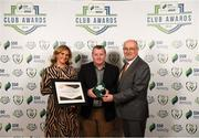 26 November 2019; Anthony Cooper of Wexford FC is presented with his Volunteer of the Year award by Leanne Shiel, Marketing & Sponsorship Manager at SSE Airtricity, and Fran Gavin, FAI Director of Competitions, at the SSE Airtricity League Club Awards at Knightsbrook Hotel in Trim, Co Meath. Photo by Stephen McCarthy/Sportsfile