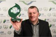 26 November 2019; Anthony Cooper of Wexford FC with his Volunteer of the Year award at the SSE Airtricity League Club Awards at Knightsbrook Hotel in Trim, Co Meath. Photo by Stephen McCarthy/Sportsfile
