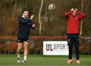 26 November 2019; JJ Hanrahan and Conor Murray during Munster Rugby squad training at University of Limerick in Limerick. Photo by Matt Browne/Sportsfile