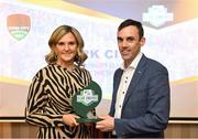 26 November 2019; Paul Wycherley, General Manager, Cork City, is presented with the Club of the Year Award by Leanne Shiel, Marketing & Sponsorship Manager at SSE Airtricity, at the SSE Airtricity League Club Awards at Knightsbrook Hotel in Trim, Co Meath. Photo by Stephen McCarthy/Sportsfile
