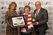 26 November 2019; Bernie Kealy of Derry City is presented with the Multi Media Club of the Season award by Leanne Shiel, Marketing & Sponsorship Manager at SSE Airtricity, and Fran Gavin, FAI Director of Competitions, at the SSE Airtricity League Club Awards at Knightsbrook Hotel in Trim, Co Meath. Photo by Stephen McCarthy/Sportsfile