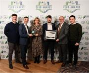 26 November 2019; Cork City representatives from left, Aaron Howey, Paul Wycherley, Paul Deasy and David O'Rourke are presented with the Best Match Day Experience award by Leanne Shiel, Marketing & Sponsorship Manager at SSE Airtricity, and Fran Gavin, FAI Director of Competitions, at the SSE Airtricity League Club Awards at Knightsbrook Hotel in Trim, Co Meath. Photo by Stephen McCarthy/Sportsfile