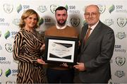 26 November 2019; David Morrissey of St Patrick's Athletic is presented with a Certificate of Commendation for Best Community Initiative by Leanne Shiel, Marketing & Sponsorship Manager at SSE Airtricity and Fran Gavin, FAI Director of Competitions, at the SSE Airtricity League Club Awards at Knightsbrook Hotel in Trim, Co Meath. Photo by Stephen McCarthy/Sportsfile