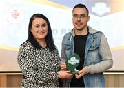 26 November 2019; Shane Crossan of Sligo Rovers is presented with the Best Family Initiative award by Ruth Rapple, SSE Airtricity, at the SSE Airtricity League Club Awards at Knightsbrook Hotel in Trim, Co Meath. Photo by Stephen McCarthy/Sportsfile
