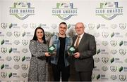 26 November 2019; Shane Crossan of Sligo Rovers is presented with both the Best Family Initiative and Supporters Contribution Award by Ruth Rapple, SSE Airtricity, and Fran Gavin, FAI Director of Competitions, at the SSE Airtricity League Club Awards at Knightsbrook Hotel in Trim, Co Meath. Photo by Stephen McCarthy/Sportsfile