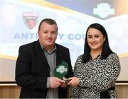 26 November 2019; Anthony Cooper of Wexford FC is presented with his Volunteer of the Year award by Ruth Rapple, SSE Airtricity, at the SSE Airtricity League Club Awards at Knightsbrook Hotel in Trim, Co Meath. Photo by Stephen McCarthy/Sportsfile