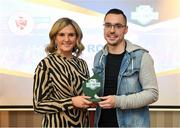 26 November 2019; Shane Crossan of Sligo Rovers is presented with the Supporters Contribution Award by Leanne Shiel, Marketing & Sponsorship Manager at SSE Airtricity, at the SSE Airtricity League Club Awards at Knightsbrook Hotel in Trim, Co Meath. Photo by Stephen McCarthy/Sportsfile