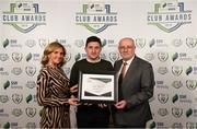 26 November 2019; David O'Rourke of Cork City is presented with the clubs Best Family Initiative Certificate of Commendation by Leanne Shiel, Marketing & Sponsorship Manager at SSE Airtricity and Fran Gavin, FAI Director of Competitions, at the SSE Airtricity League Club Awards at Knightsbrook Hotel in Trim, Co Meath. Photo by Stephen McCarthy/Sportsfile