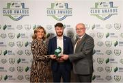 26 November 2019; Paul Deasy of Cork City is presented with the Best Overall Marketing award by Leanne Shiel, Marketing & Sponsorship Manager at SSE Airtricity and Fran Gavin, FAI Director of Competitions, at the SSE Airtricity League Club Awards at Knightsbrook Hotel in Trim, Co Meath. Photo by Stephen McCarthy/Sportsfile
