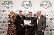26 November 2019; Stephen Maguire, left and Rob Pierce of Bray Wanderers are presented with the Commendation for Club of the Season Certificate by Leanne Shiel, Marketing & Sponsorship Manager at SSE Airtricity and Fran Gavin, FAI Director of Competitions, at the SSE Airtricity League Club Awards at Knightsbrook Hotel in Trim, Co Meath. Photo by Stephen McCarthy/Sportsfile
