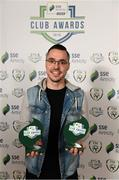26 November 2019; Shane Crossan of Sligo Rovers with the clubs awards for Best Family Initiative and Supporters Contribution at the SSE Airtricity League Club Awards at Knightsbrook Hotel in Trim, Co Meath. Photo by Stephen McCarthy/Sportsfile