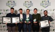 26 November 2019; Cork City representatives, from left, Aaron Howey, Paul Deasy, Paul Wycherley, David O'Rourke and Chris McDermott with their awards for Best Match Day Experience, Best Overall Marketing and SSE Airtricity League Club of the Season and their Certificates of Commendations at the SSE Airtricity League Club Awards at Knightsbrook Hotel in Trim, Co Meath. Photo by Stephen McCarthy/Sportsfile