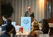 26 November 2019; Fran Gavin, FAI Director of Competitions, speaking during the SSE Airtricity League Club Awards at Knightsbrook Hotel in Trim, Co Meath. Photo by Stephen McCarthy/Sportsfile