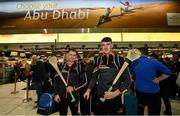 27 November 2019; Laois hurlers Enda Rowland, left, and Paddy Purcell in attendance at Dublin Airport prior to their departure to the PwC All Stars tour in Abu Dhabi. Photo by David Fitzgerald/Sportsfile