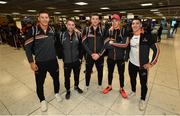 27 November 2019; Limerick hurlers, from left, Dan Morrissey, Graeme Mulcahy, Declan Hannon, Cian Lynch and Sean Finn in attendance at Dublin Airport prior to their departure to the PwC All Stars tour in Abu Dhabi. Photo by David Fitzgerald/Sportsfile