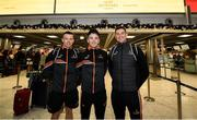 27 November 2019; Tipperary hurlers, from left, Pádraic Maher, Noel McGrath and Seamus Callanan in attendance at Dublin Airport prior to their departure to the PwC All Stars tour in Abu Dhabi. Photo by David Fitzgerald/Sportsfile