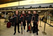 27 November 2019; Cork hurlers, from left, Anthony Nash, Patrick Horgan, Darragh Fitzgibbon and Seamus Harnedy in attendance at Dublin Airport prior to their departure to the PwC All Stars tour in Abu Dhabi. Photo by David Fitzgerald/Sportsfile