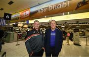 27 November 2019; Tipperary manager Liam Sheedy, left, and former Cork manager John Meyler in attendance at Dublin Airport prior to their departure to the PwC All Stars tour in Abu Dhabi. Photo by David Fitzgerald/Sportsfile