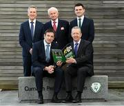 27 November 2019; Gerard Perry, Chairperson of the National Referee Committee, front row, right, with Noel Mooney, General Manager of the Football Association of Ireland, front row, left, and, back row, from left, John Ward, National Referee Co-Ordinator, Bill Atley, Chief Referee Observer and Rob Hennessy, FIFA Referee, during the Referee Strategy Launch at FAI HQ in Dublin. Photo by Matt Browne/Sportsfile