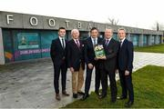 27 November 2019; Gerard Perry, Chairperson of the National Referee Committee, second from right, with, from left, Rob Hennessy, FIFA Referee, Bill Atley, Chief Referee Observer, Noel Mooney, General Manager of the Football Association of Ireland, and John Ward, National Referee Co-Ordinator, during the Referee Strategy Launch at FAI HQ in Dublin. Photo by Matt Browne/Sportsfile