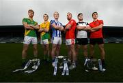 28 November 2019; Footballers, from left, Matthew Cody of Rathgarogue Cushinstown, Philly Garry of Clann na nGael, Darren O'Reilly of Ballyboden St Enda's, Jordan Lowry of Éire Óg, Mickey Jones of Mullinavat and Adrian Reid of Mattock Rangers during the launch of the AIB Leinster GAA Club Finals at MW Hire O'Moore Park in Portlaoise, Co Laois. Photo by Stephen McCarthy/Sportsfile