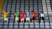 28 November 2019; Footballers, from left, Philly Garry of Clann na nGael, Matthew Cody of Rathgarogue Cushinstown, Jordan Lowry of Éire Óg, Darren O'Reilly of Ballyboden St Enda's, Adrian Reid of Mattock Rangers and Mickey Jones of Mullinavat during the launch of the AIB Leinster GAA Club Finals at MW Hire O'Moore Park in Portlaoise, Co Laois. Photo by Stephen McCarthy/Sportsfile