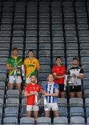 28 November 2019; Footballers, from left, Matthew Cody of Rathgarogue Cushinstown, Philly Garry of Clann na nGael, Jordan Lowry of Éire Óg, Darren O'Reilly of Ballyboden St Enda's, Adrian Reid of Mattock Rangers and Mickey Jones of Mullinavat during the launch of the AIB Leinster GAA Club Finals at MW Hire O'Moore Park in Portlaoise, Co Laois. Photo by Stephen McCarthy/Sportsfile