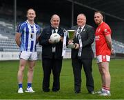 28 November 2019; AIB Leinster Senior Club Football Championships finalists Darren O'Reilly of Ballyboden St Enda's and Jordan Lowry of Éire Óg with Leinster GAA Treasurer Pat Lynagh and Leinster GAA Chairman Jim Bolger during the launch of the AIB Leinster GAA Club Finals at MW Hire O'Moore Park, in Portlaoise, Co Laois. Photo by Stephen McCarthy/Sportsfile