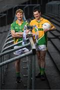 28 November 2019; Matthew Cody of Rathgarogue Cushinstown, left, and Philly Garry of Clann na nGael during the launch of the AIB Leinster GAA Club Finals at MW Hire O'Moore Park in Portlaoise, Co Laois. Photo by Stephen McCarthy/Sportsfile