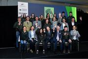 28 November 2019; Ronan Murphy, CEO of Horse Sport Ireland, and Joe Reynolds Chairman of Horse Sport Ireland, front row, centre, with, back row, from left, Alex Connors, Niamh McEvoy, Olivia Swan, Susan Shanahan, Grace Tyrrell, John McEntee, Seamus Hughes-Kennedy; middle row, from left, Brian Kuenhle, Sam Watson, Paul O'Shea, Kate Derwin, Kate Dwyer, Heike Holstein, Cathal Daniels; front row, from left, Sarah Ennis, Judy Reynolds, Tiggy Hancock, Francis Derwin, and Anna Merveldt  at the HSI Rebrand Launch and Medal Reception 2019 at Killashee House Hotel in Naas, Co Kildare. Photo by Matt Browne/Sportsfile
