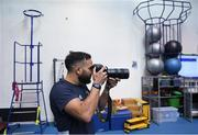 3 December 2019; Jamison Gibson-Park takes a photograph during a Leinster Rugby gym session at Leinster Rugby Headquarters in UCD, Dublin. Photo by Ramsey Cardy/Sportsfile