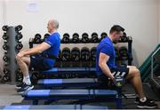 3 December 2019; Jack Conan, right, and Devin Toner during a Leinster Rugby gym session at Leinster Rugby Headquarters in UCD, Dublin. Photo by Ramsey Cardy/Sportsfile