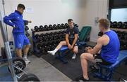 3 December 2019; Jonathan Sexton, centre, in conversation with Senior physiotherapist Karl Denvir and Dan Leavy during a Leinster Rugby gym session at Leinster Rugby Headquarters in UCD, Dublin. Photo by Ramsey Cardy/Sportsfile
