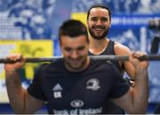 3 December 2019; James Lowe, right, and Cian Kelleher during a Leinster Rugby gym session at Leinster Rugby Headquarters in UCD, Dublin. Photo by Ramsey Cardy/Sportsfile