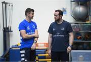 3 December 2019; Sports scientist Jack O'Brien, left, and physio intern Darren Hickey during a Leinster Rugby gym session at Leinster Rugby Headquarters in UCD, Dublin. Photo by Ramsey Cardy/Sportsfile