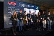 28 November 2019; Olivia Swan, Brian Kuehnle, Joanne Hurley, GAIN Equine Nutrition, Becky Cullen, Team Manager, Ronan Murphy, CEO of Horse Sport Ireland, Tiggy Hancock, Susan Shanahan, Grace Tyrrell, and Alex Connors at the HSI Rebrand Launch and Medal Reception 2019 at Killashee House Hotel in Naas, Co Kildare. Photo by Matt Browne/Sportsfile