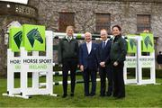 28 November 2019; Joe Reynolds, Chairman of Horse Sport Ireland, second from left, and Ronan Murphy, CEO of Horse Sport Ireland, with Kate Dwyer, left, and Anna Mervedlt from the Senior Dressage Team at the HSI Rebrand Launch and Medal Reception 2019 at Killashee House Hotel in Naas, Co Kildare. Photo by Matt Browne/Sportsfile