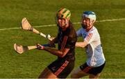 29 November 2019; Limerick's Dan Morrissey of 2018 PwC All-Star in action against Sligo's James Weir of 2019 PwC All-Star during the PwC All Star Hurling Tour 2019 All Star game at Zayed Sport City in Abu Dhabi, United Arab Emirates. Photo by Ray McManus/Sportsfile