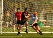 29 November 2019; Carlow's Edward Byrne of 2018 PwC All-Star in action against Laois' Enda Rowland of 2019 PwC All-Star during the PwC All Star Hurling Tour 2019 All Star game at Zayed Sport City in Abu Dhabi, United Arab Emirates. Photo by Ray McManus/Sportsfile