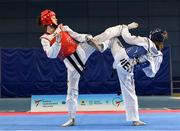29 November 2019; Jolanta Tarvida of Latvia, left, in action against Bodine Schoenmakers of Netherlands during the Taekwondo Europe Olympic Weight Categories Championships at the National Indoor Arena in Abbotstown, Dublin. Photo by Harry Murphy/Sportsfile