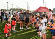 29 November 2019; Managers Liam Sheedy and John Meyler lead out their teams before the PwC All Star Hurling Tour 2019 All Star game at Zayed Sport City in Abu Dhabi, United Arab Emirates. Photo by Ray McManus/Sportsfile