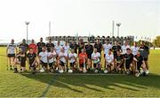 29 November 2019; The combined 2018 PwC All-Star team and the 2019 PwC All-Star team before the start of the PwC All Star Hurling Tour 2019 All Star game at Zayed Sport City in Abu Dhabi, United Arab Emirates. Photo by Ray McManus/Sportsfile
