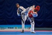 29 November 2019; Joana Cunha of Portugal, left, in action against  Nadine Schoenmakers of Netherlands during the Taekwondo Europe Olympic Weight Categories Championships at the National Indoor Arena in Abbotstown, Dublin. Photo by Harry Murphy/Sportsfile
