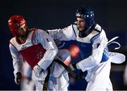 29 November 2019; Kyliann Bonnet of France, right, in action against Stepan Dimitrov of Moldova during the Taekwondo Europe Olympic Weight Categories Championships at the National Indoor Arena in Abbotstown, Dublin. Photo by Harry Murphy/Sportsfile