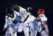 29 November 2019; Stepan Dimitrov of Moldova, right, in action against Kyliann Bonnet of France during the Taekwondo Europe Olympic Weight Categories Championships at the National Indoor Arena in Abbotstown, Dublin. Photo by Harry Murphy/Sportsfile