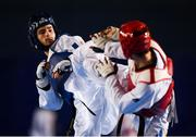 29 November 2019; Kyliann Bonnet of France, left, in action against Stepan Dimitrov of Moldova during the Taekwondo Europe Olympic Weight Categories Championships at the National Indoor Arena in Abbotstown, Dublin. Photo by Harry Murphy/Sportsfile