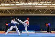 29 November 2019; Bodine Schoenmakers of Netherlands in action against Jolanta Tarvida of Latvia during the Taekwondo Europe Olympic Weight Categories Championships at the National Indoor Arena in Abbotstown, Dublin. Photo by Harry Murphy/Sportsfile