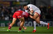 29 November 2019; Stuart McCloskey of Ulster is tackled by Corey Baldwin of Scarlets during the Guinness PRO14 Round 7 match between Ulster and Scarlets at the Kingspan Stadium in Belfast. Photo by Ramsey Cardy/Sportsfile